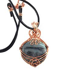 copper necklace pendant images Amazonite with black tourmaline crown copper wire wrapped necklace jpg