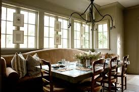 kitchen contemporary banquette window treatments with green