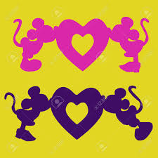 mickey mouse s day silhouette of mickey mouse boy and girl the heart an