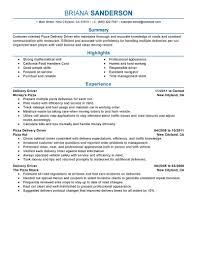 Driver Job Description Resume by Pizza Delivery Driver Job Description For Resume Free Resume