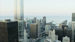 Aerial aerials chicago illinois usa sunset night sears tower grant