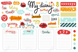 set of hand drawn sketch elements and words for u0027s diary