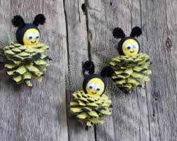 pine cone bee ornaments bumble bee primitive country