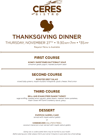 ceres bistro thanksgiving dinner menu