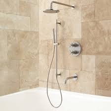 kennedy thermostatic tub shower system bathroom complete with a rainfall shower and manual sprayer this brass set features thermostatic technology that controls the temperature based on your preferences