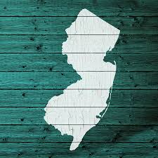 State Of New Jersey Map by Map Of New Jersey State Outline White Distressed Paint On