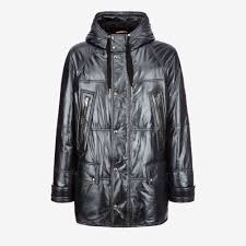 leather hooded down parka men s coats jackets bally