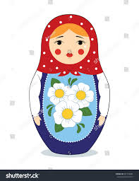 colorful illustration russian nesting doll matryoshka stock