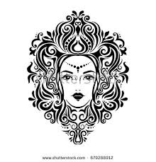 tribal tattoo illustration face hair stock illustration