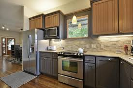 fascinating two toned cabinets in kitchen pics ideas amys office