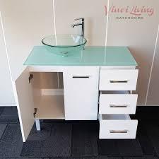 alto 1000mm freestanding bathroom vanity unit aqua glass top round