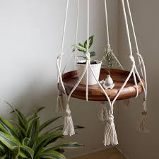 hanging table plant holder with tassels cotton u0026 jute hanging
