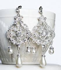 and pearl chandelier earrings bridal earring wedding earring rhinestone chandelier earrings