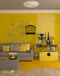 yellow walls blue curtains decorating grey and yellow bedroom