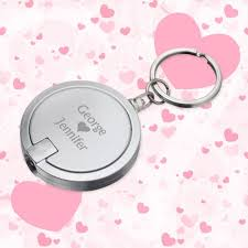 keychain wedding favors personalized disc light keychains wedding favors silver