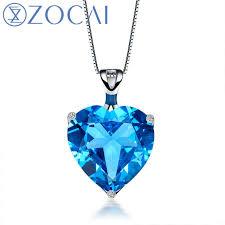 topaz necklace pendant images Zocai aurora 8 0 ct certified heart shape blue topaz pendant 9k jpg