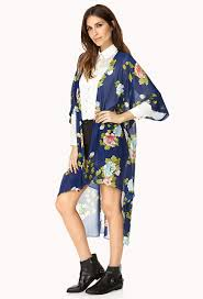 forever 21 whimsical floral kimono in blue lyst