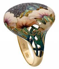 art deco svan ring holder images Yellow gold poppy ring with alexandrites and enamel painted poppy jpg