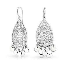 silver chandelier earrings 925 sterling silver bohemian filigree chandelier earrings