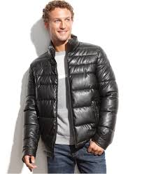 tommy hilfiger faux leather puffer jacket in black for men lyst