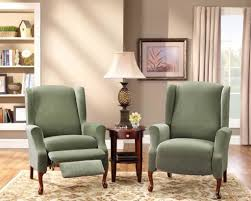 double recliner sofa slipcover furniture green wing chair recliner slipcover design cool