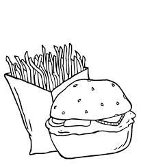 dynamic duo fries and burger junk food coloring page download