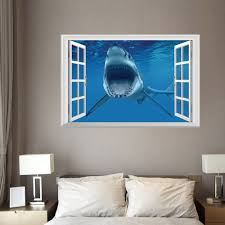 window shark 3d wall art sticker for bedrooms blue cm in wall window shark 3d wall art sticker for bedrooms blue 48 5 72cm