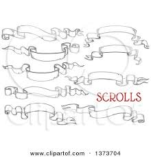 engraved ribbon clipart of vintage black and white engraved styled blank ribbon