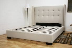 Queen Size Platform Bed - baxton studio favela beige linen upholstered queen size platform bed