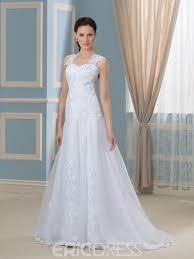 wedding dress sheer straps ericdress beautiful straps sheer back appliques a line wedding