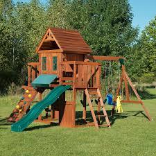 Wooden Backyard Playsets Wood Swing Sets You U0027ll Love Wayfair