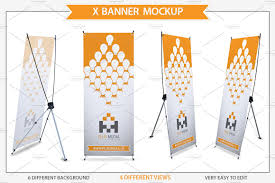 Standing Flag Banners X Banner Mockup Product Mockups Creative Market
