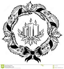 clipart christmas advent wreath black and white