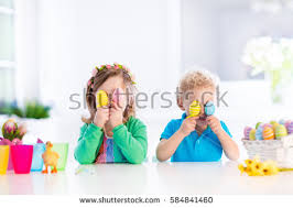 Decorating Easter Eggs For Toddlers by Kids Painting Colorful Eggs Children Paint Stock Photo 358100987