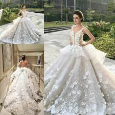 amazing 3d floral peplum ruffles plus size ball gowns plunging