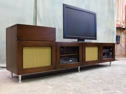 Metal Media Cabinet Furniture Brown Wooden Mid Century Media Console With Accented