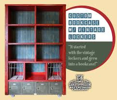 Bookcases Com Custom Bookcase Bookshelf With Vintage Metal Lockers And Old