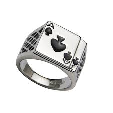 stainless steel rings for men fashion stainless steel ring ace of spades rings casino