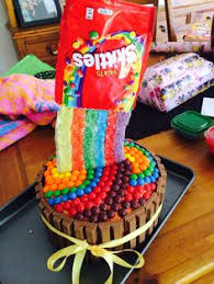 sour skittles cake with extreme airheads as boarder easy and fun