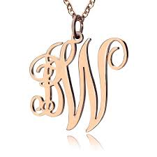 initial monogram necklace personailzed vine font 2 initial monogram necklace solid gold