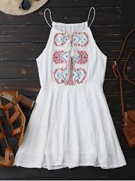 sun dress embroidered tassel sundress white summer dresses one size zaful