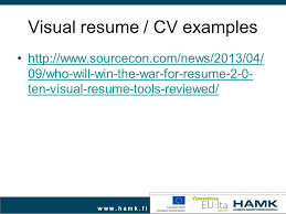 Visual Resume Examples by Career Planning Work Search Ppt Video Online Download