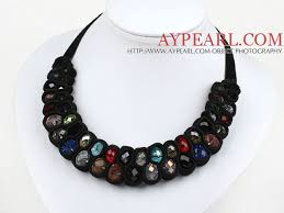 velvet ribbon necklace images Fashion style multi color crystal and black velvet ribbon woven jpg