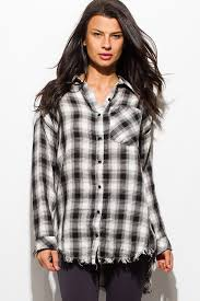 black button blouse shop black plaid print flannel sleeve frayed hem button up