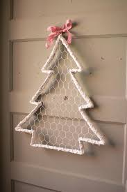 white wash willow and wire christmas tree with ribbon set of 6