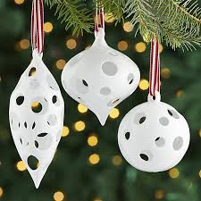 igloo white porcelain ornaments set of 3 crate and barrel