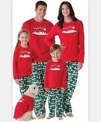 retail matching family pajamas sleigh printed sleeve