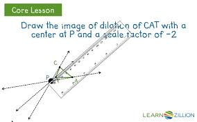 draw an image of a dilation with a negative scale factor