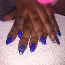 unique blue nails with golden design picsmine