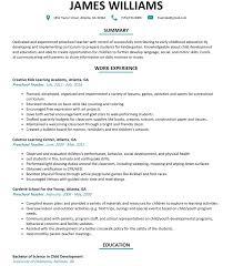 teachers resume exles preschool resume sle resumelift